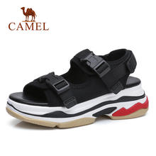CAMEL Casual Sandals High Rise Buckle Flat Wild Breathable Shoes Women 2019 Summer New Wedges Sandals Fashion Sapato Feminino(China)