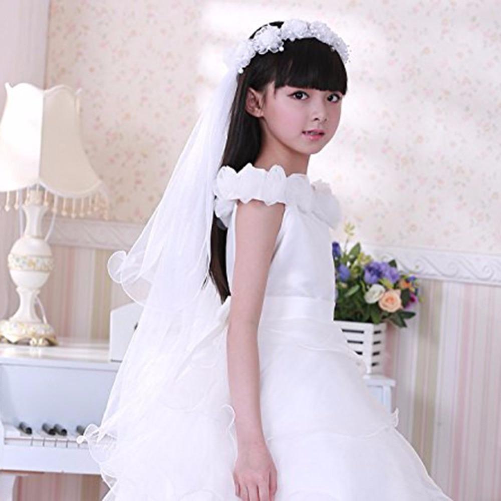 Dziewczęce welony komunijne Opaska biała wianek kwiatowy wesele z - Odzież dla niemowląt - Zdjęcie 3