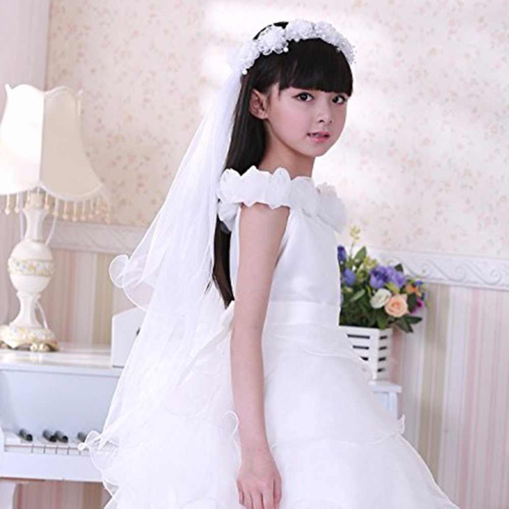 792d9ee55d Girls First Communion Veils Headband White Floral Wreath Wedding Veil with  Comb Girls White Catholic Religious Hair Accessories