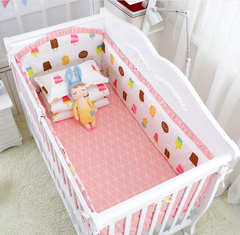 5Pcs Baby crib bedding Bumpers Cartoon Baby Bedding Bed Around Package Bed Sheets 100%Cotton Thickening Beautiful Crib Bumper 6pcs animal print 100%cotton baby bedding bumpers stars bed around cartoon removable boys and girls unisex baby bed crib bumper
