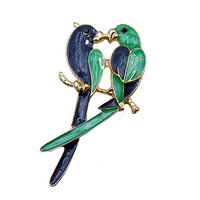 Couple Parrot Brooch Pin Breastpin Wedding Party Jewelry Unisex Scarf Accessory