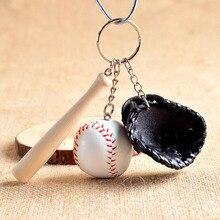 Fashion Mini 1 pcs Baseball glove wooden bat keychain Cute Key Chain Key Ring Gift For Man