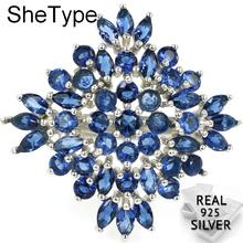 4.4g Luxury SheType Top AAA+ Star Shape Tanzanite Wedding Womans 925 Solid Sterling Silver Rings 27x26mm