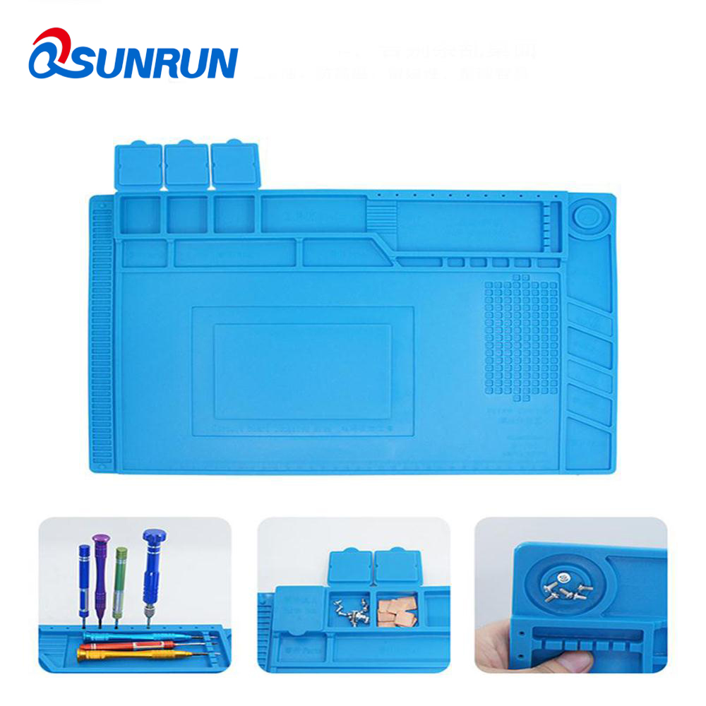 купить QSUNRUN Anti-static Mat High Temperature Mobile Phone Repair Work Table With Magnetic Parts Adsorption Heat Insulation Pad недорого