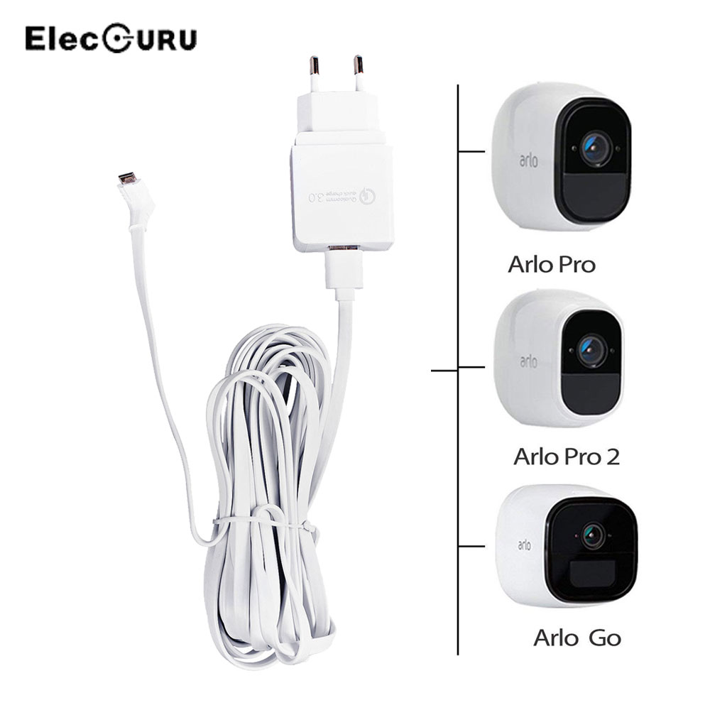 US $16 39 25% OFF|19 6ft/6M Charging Cable With Adapter For Arlo Pro  2/Pro/Arlo Go Camera Charge Weatherproof Extension Cable+Quick Charge  Adapter-in
