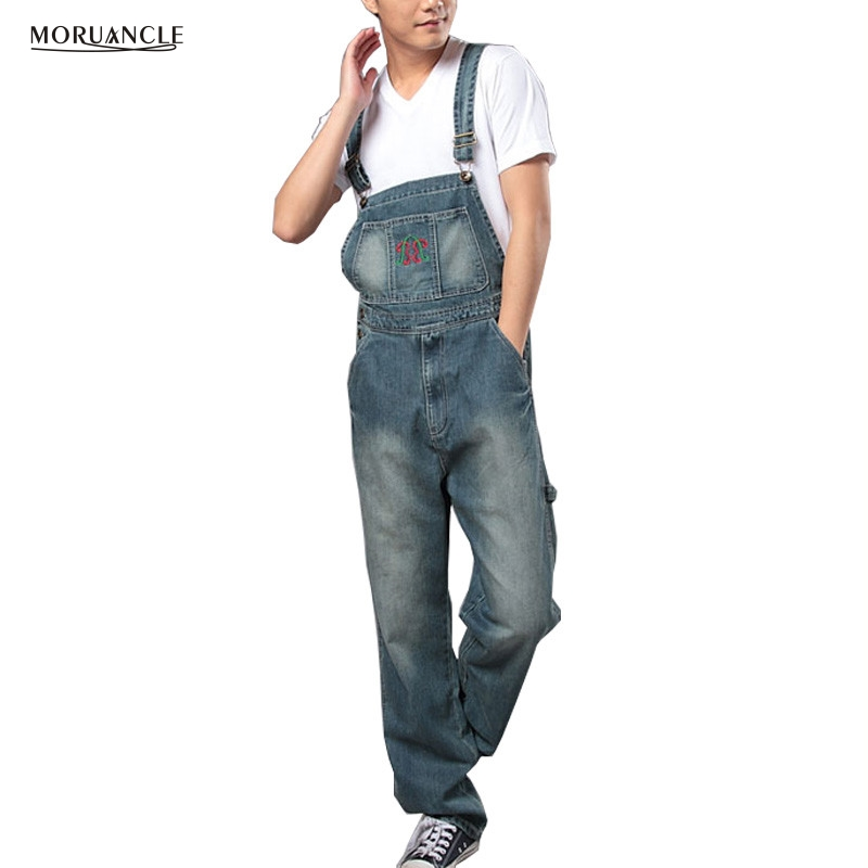 MORUANCLE Men's Loose Plus Size Denim Bib Overalls Washed Vintage Oversized Embroidery Jeans Jumpsuits For Men Big and Tall 5XL