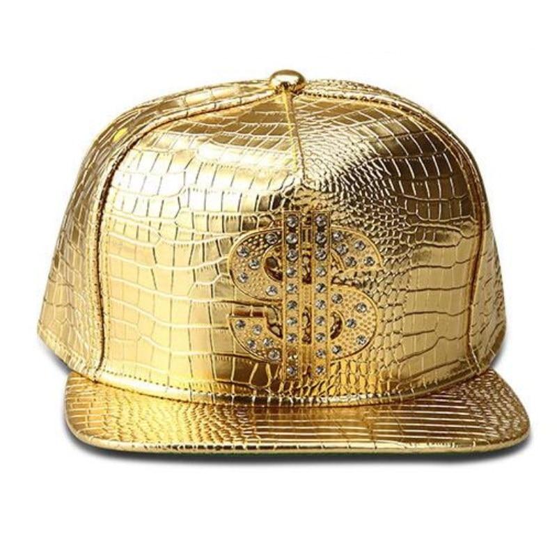 Seioum Vogue Dollar Logo Crocodile hip hop rap PU Leather Hats Gold Rhinestone Street DJ Money Baseball Caps men women casquette