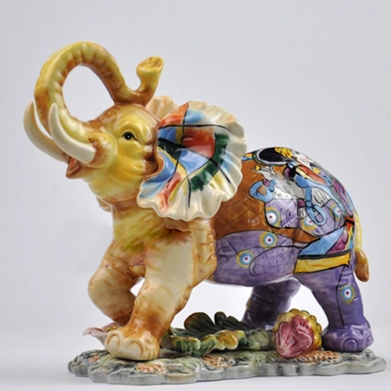 Beautiful ceramic elephant crafts handicraft ornament porcelain figurines wedding home decoration gift