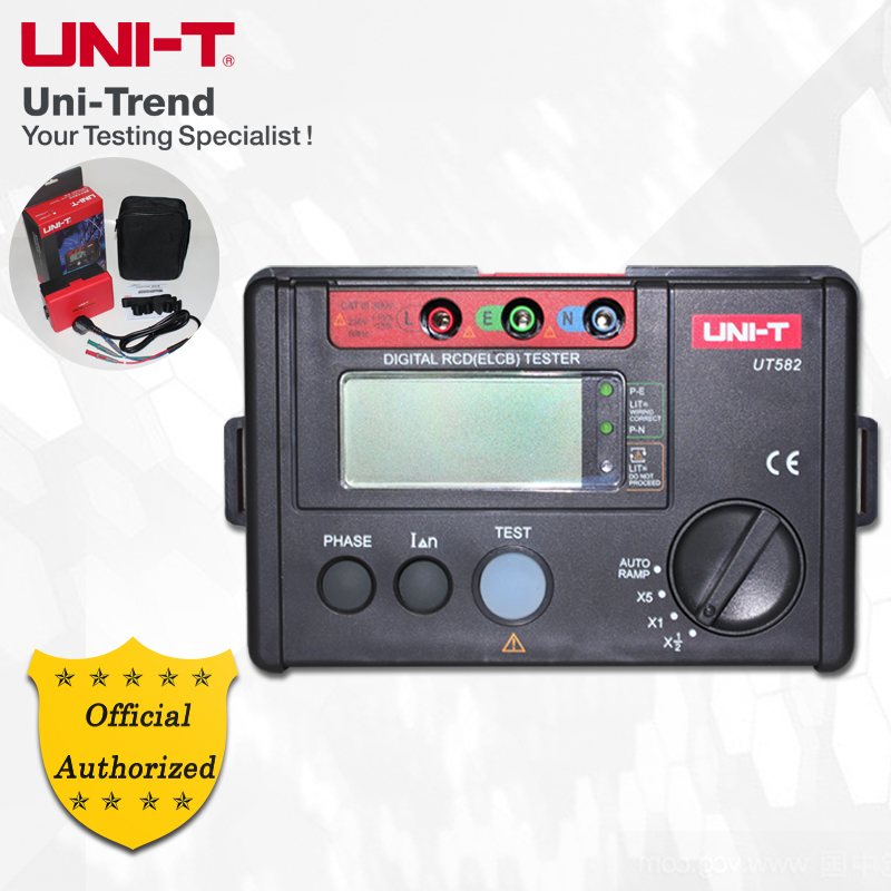 UNI-T UT582 Digital RCD (ELCB) Tester;Phase Switch/AUTO RAMP Function/Connections Check Function/Fused 4 8 days arrival uni t ut582 digital rcd elcb testers meter auto ramp leakage circuit breaker