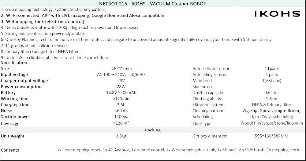 IKOHS NETBOT S15 Robô Inteligente Aspirador Aspirador de pó Preto Professional APP Casa Inteligente Sem Fio - 6