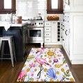 Else Розовый фламинго синие морские ракушки лето 3d узорная печать Нескользящая микрофибра кухня современный декоративный моющийся коврик