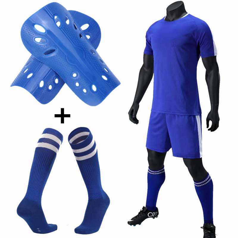 Mens Kids Soccer Jerseys Set Football kit Training Suits Soccer Uniform for Teens team game Sports Suit with socks+Shin guards kayak suit