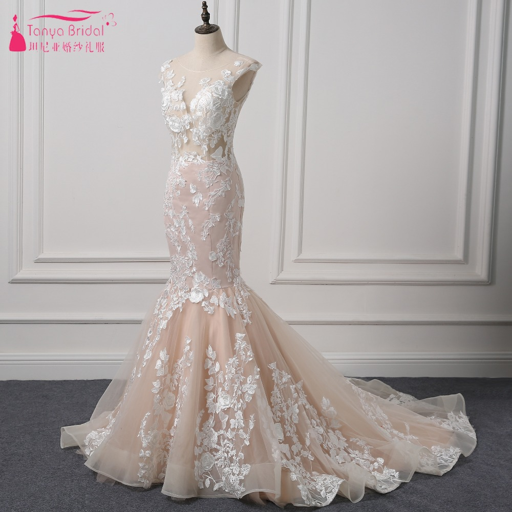 2018 Spring Mermaid Wedding Dresses Blush Pink Lace Bridal