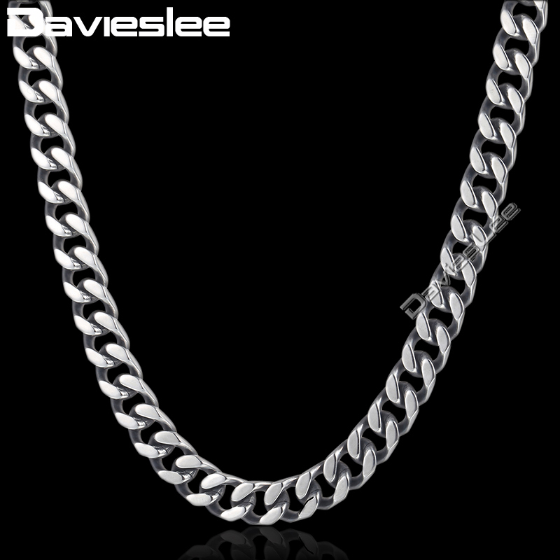 Davieslee Curb Link Necklace Chain Mens Boys Cut Cuban Stainless Steel Silver Tone 8/10/12mm DKNM142