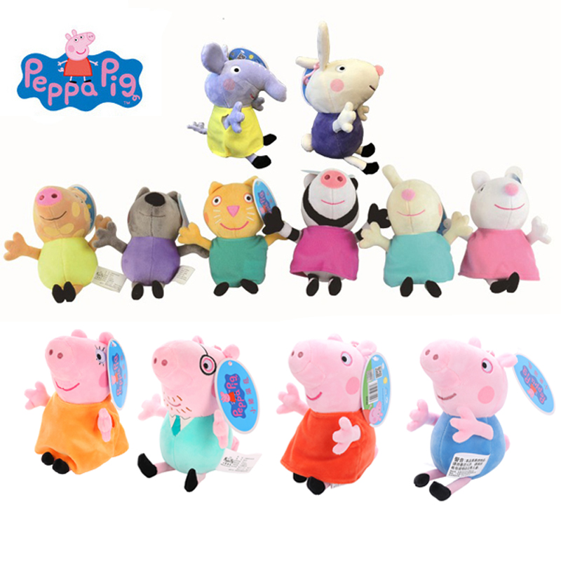 19cm Original Peppa Pig George Stuffed Plush Toys Cartoon Animal Family Friend Pig Party Dolls For Girl Children Birthday Gifts