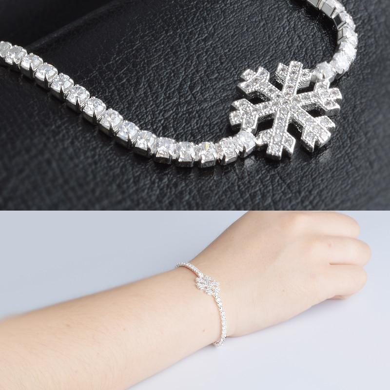Charm Silver Clear Zircon Rhinestone Snowflake Bracelet Fit Wedding 925 Sterling Bracelets for Women Bridal Girl Kids Gifts S216 in Chain Link Bracelets from Jewelry Accessories