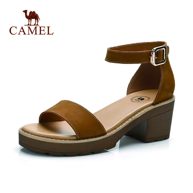 CAMEL Women New Casual Peep Toe Sandals Women Elegant Fashion Genuine Leather Buckle Med Heel Shoes