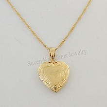 "order 10$ get free shipping/ YELLOW GOLD GP 18"" NECKLACE&MUSLIM ALLAH GOD HEART PENDANT OPENABLE CAN PUT PICTURE"