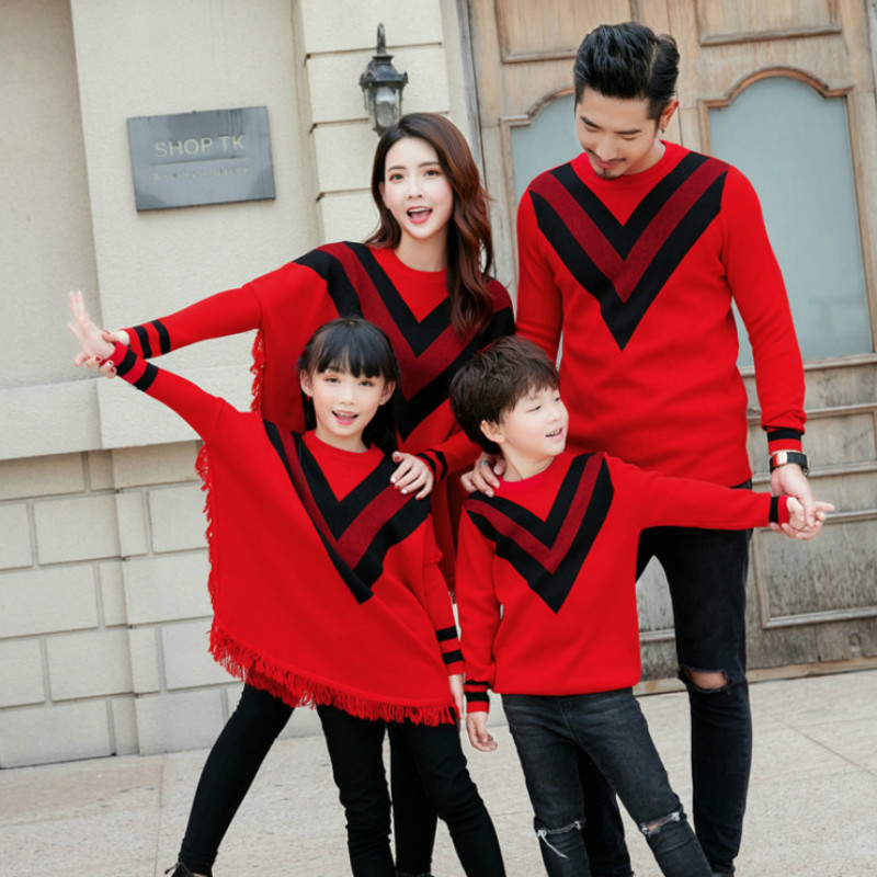 Trend Household Matching Outfits Garments Dad Mother Children Winter Christmas Lengthy Sleeve T-Shirt Bat Knit Outfit Youngsters's Sweaters