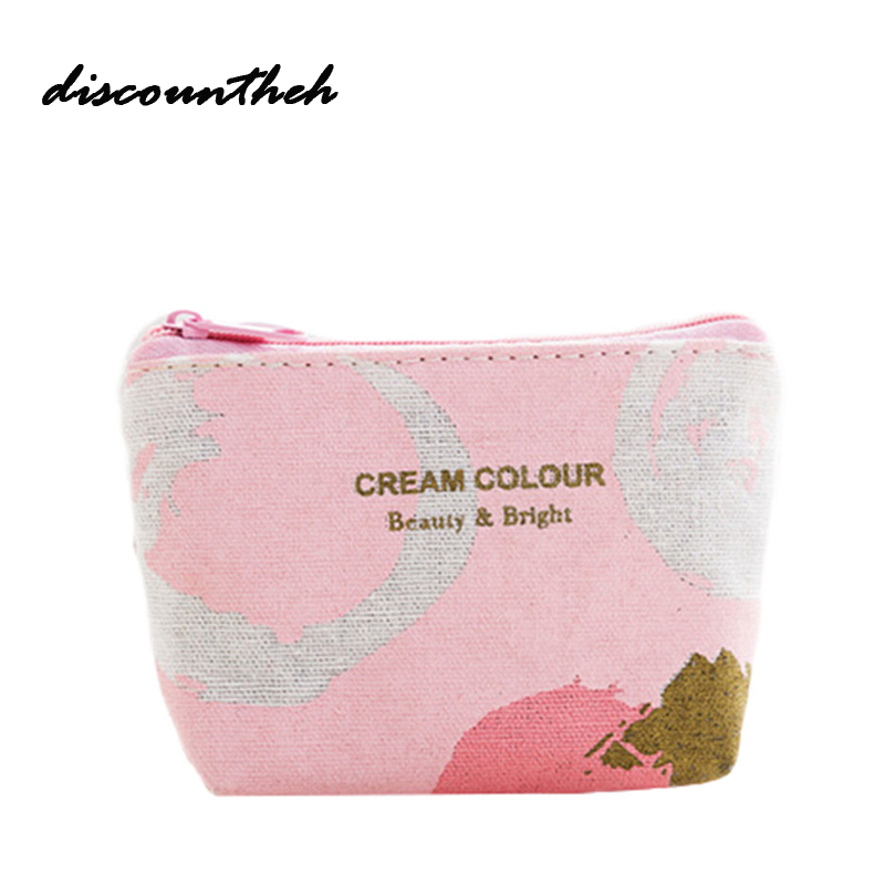 1pcs Canvas Coin Purses Cute Fresh Pink Strip Zipper Wallet Child Girl Boy Women Purse ,lady Coin Bag Key Packet brand cute canvas coin purse women rabbit zero wallet teenagers girl vintage style key pouch sweet lady retro coins purses bag