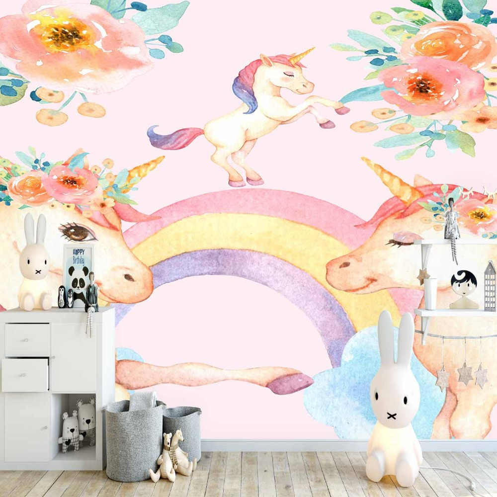 Else Pink Roses Flowers Rainbow Unicorn Horses 3d Print Cartoon Cleanable Fabric Mural Kids Children Room Background Wallpaper