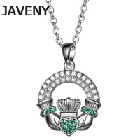925 Sterling Silver Jewelry Green CZ Cubic Zirconia Wedding Bridal Irish Claddagh Pendant Necklaces For Womens Birthday Gifts
