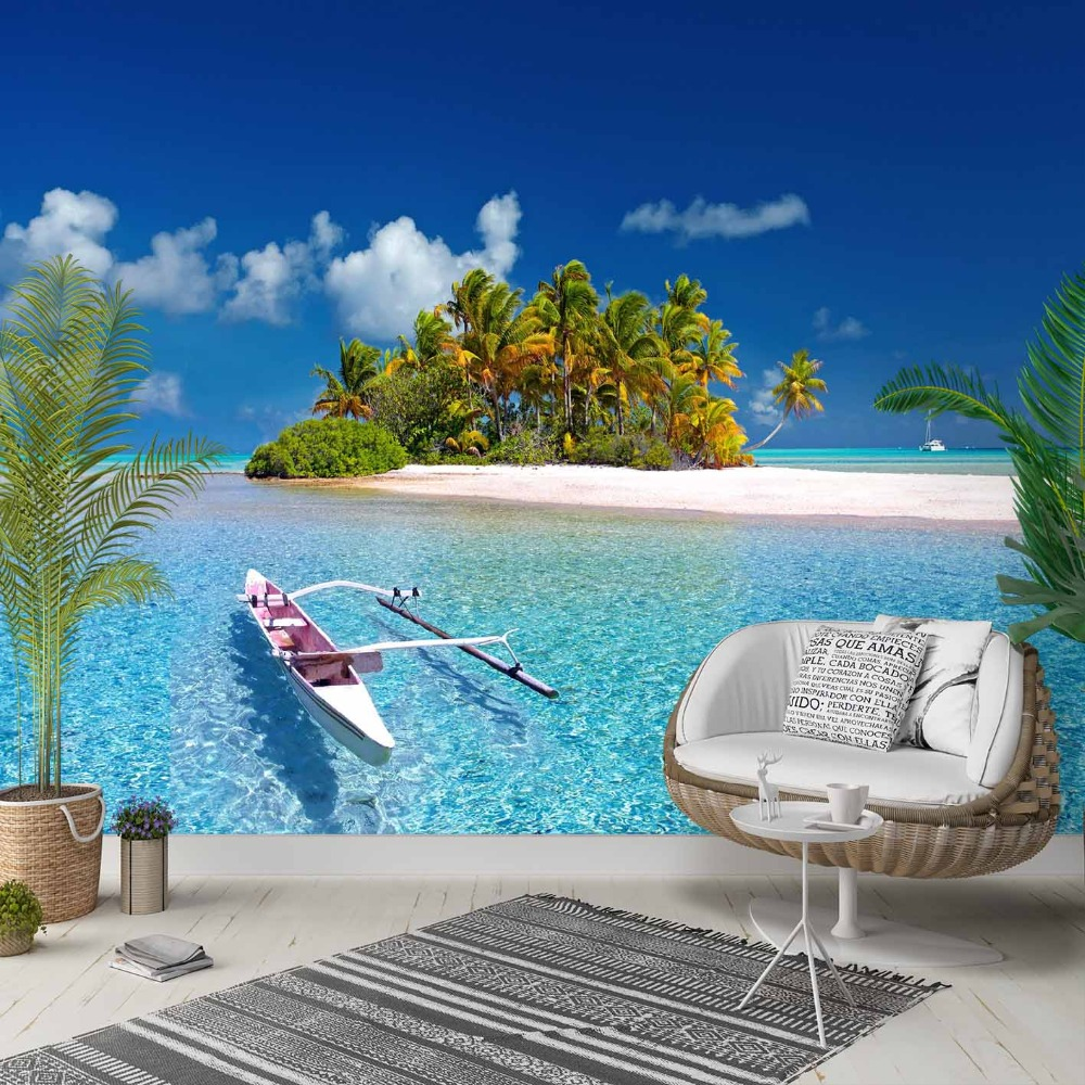 Else Green Trees Blue Sea Tropical Island 3d Photo Cleanable Fabric Mural Home Decor Living Room Bedroom Background Wallpaper