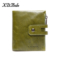 X.D.BOLO Fashion Design Wallet Women Genuine Leather Card Holder Female Purse Zipper Short Clutch Ladies Purses with Coin Pocket
