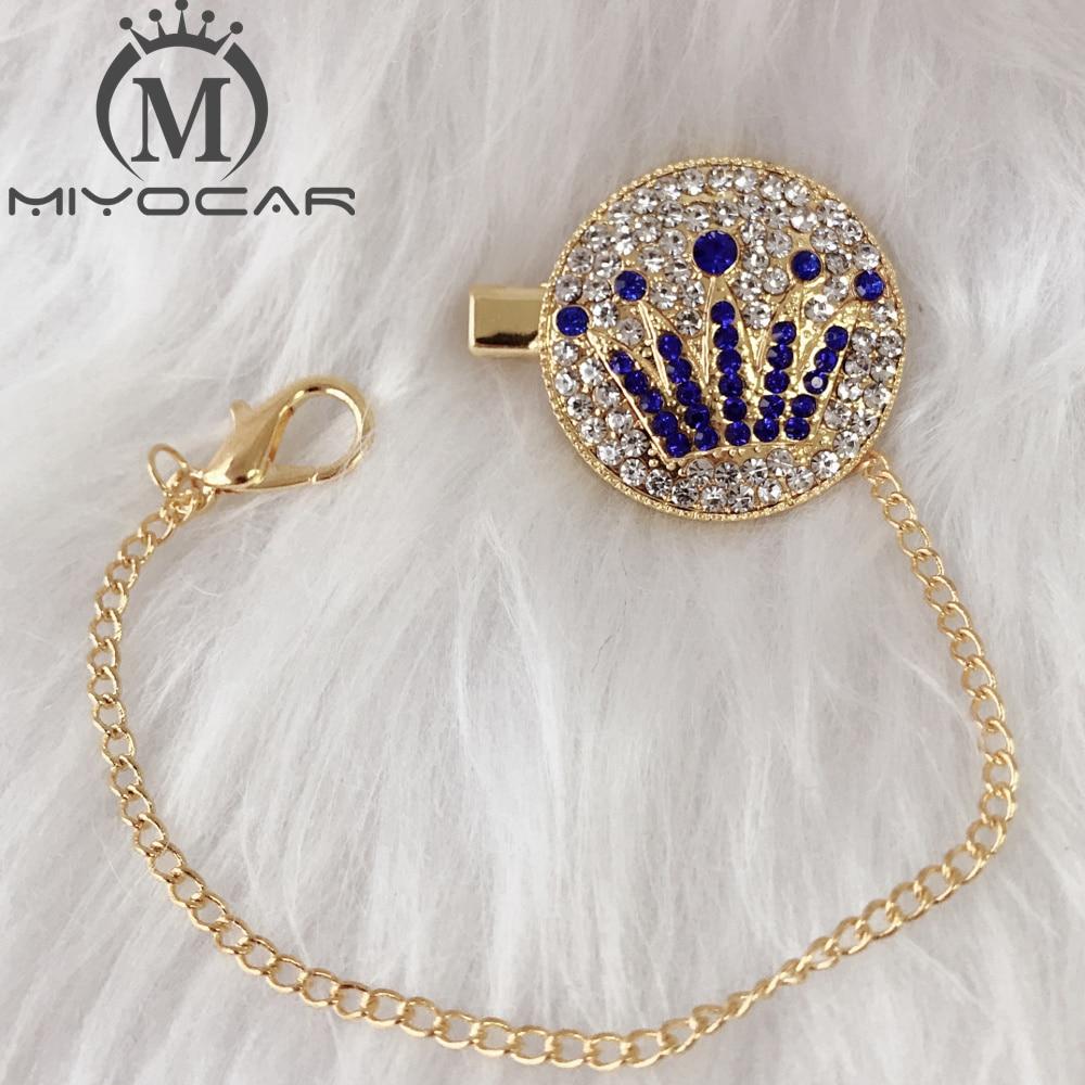 MIYOCAR Bling Bling Crown Pacifier Clip Pacifier Chain Holder Dummy Clip Chain Unique Design High Class Metal Chain CH-4