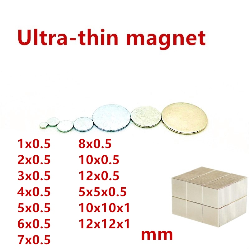 50 PCS Mini Kleine Magnet 1x0,5 2x0,5 3x0,5 4x0,5 5x0,5 6x0,5 8x0,5 12x0,5mm Neodym Magnet NdFeB Micro Magnet Präzision Smal