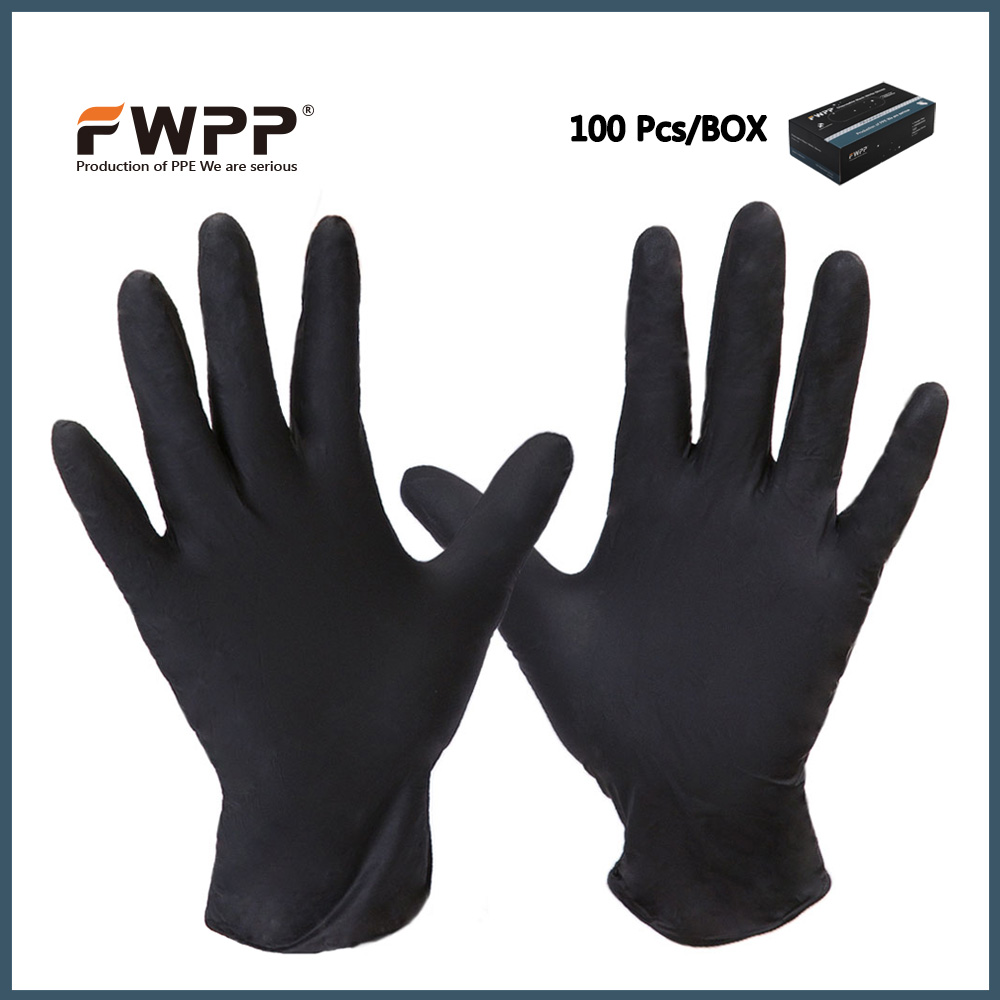 FWPP Disposable Nitrile Gloves Medical Grade, Powder Free, Latex Free, Disposable, Non Sterile, Food Safe,S M L, Black 50 pcs  free shipping 500g bag food grade red yeast rice powder extract health nutrition food