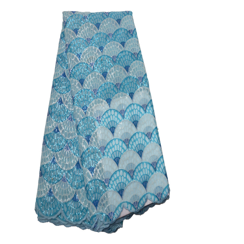 Best Selling Blue Embroidery African Wedding Organza Lace Fabric Sequin French Dress Lace Nigerian Lace Fabrics X820 1