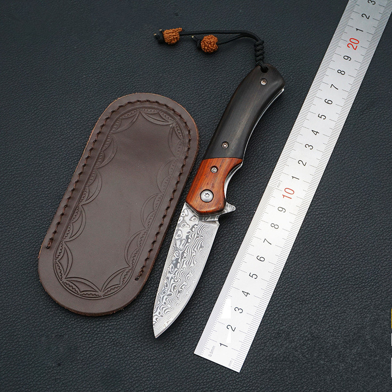 Handmade Camping Folding Knife Damascus Blade Wood Handle Hunting Tactical Fruit Pocket Knives EDC Utility Tools купить недорого в Москве
