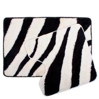 2 pcs in a set bathroom and toilet mat carpet acrylic 60x90 cm and 60x60 cm zebra design 462 426