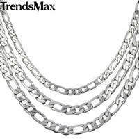 6 7 9MM Wide Mens Chain NECKLACE Flat Figaro Silver Tone Stainless Steel Necklace Wholesale CUSTOMIZE