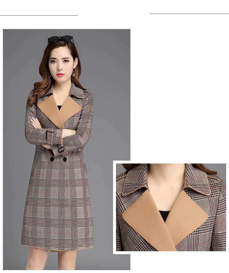 Stijlvolle kleding Vrouwen herfst kleding Lange overjas womens hoge kwaliteit Herfst trenchcoat Koreaanse mode Geruite jassen B4077