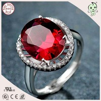 High Quality Luxurious Big Red Corundum Adjustable S925 Sterling Silver Love Ring