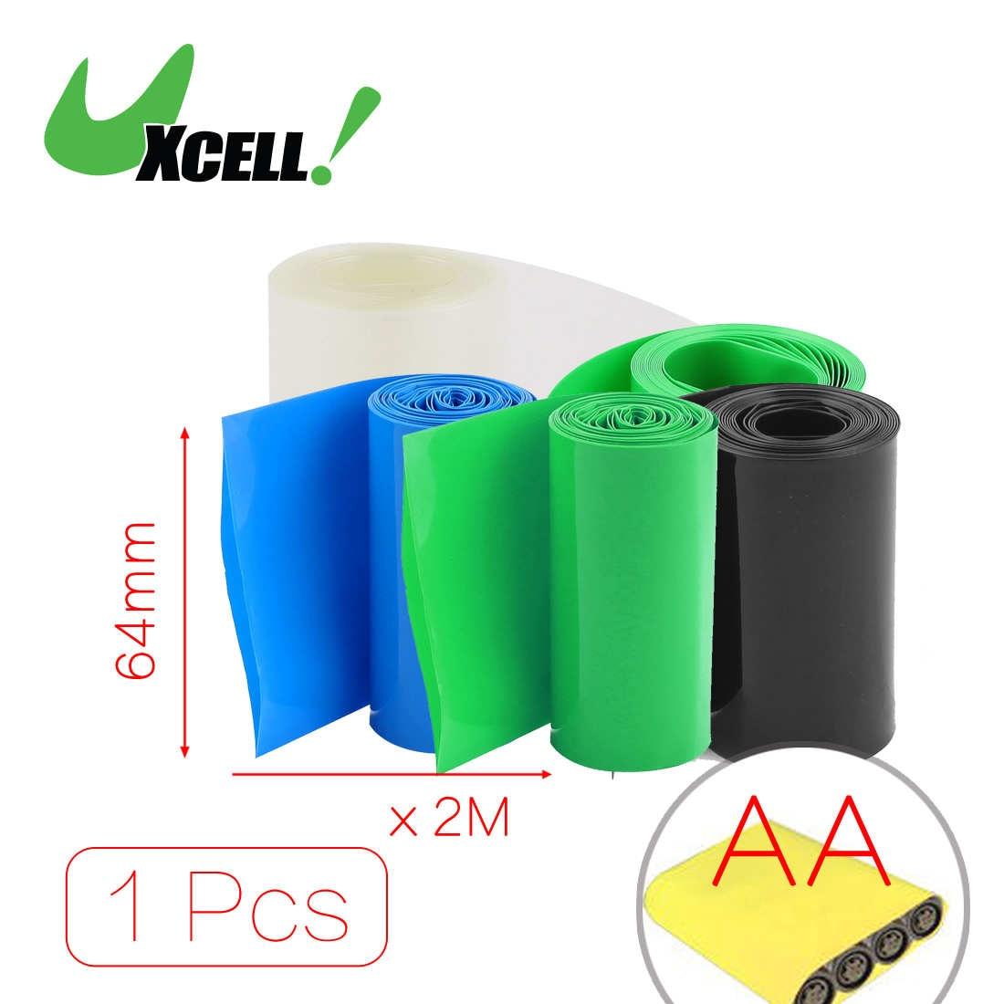 Uxcell 2 метров 64 мм Ширина ПВХ термоусадочная Обёрточная Бумага трубки Черный для <font><b>AA</b></font> Батарея пакет. | Черный | синий | очистить | Зеленый
