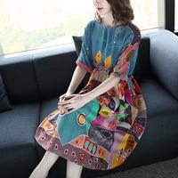 2018 summer new large size women silk dress fashion print raglan sleeves waist long section