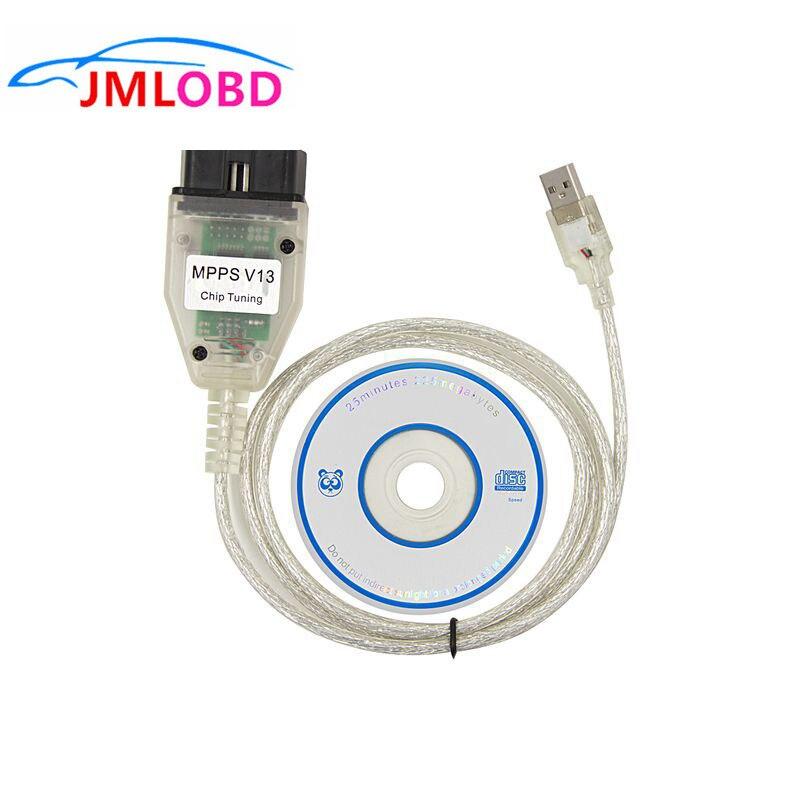 ECU MPPS V13.02 Firmware V13 V16 Chip Tuning 12V OBD2 Diagnostic Scanner Cable USB Port OBDII Connector Adapter