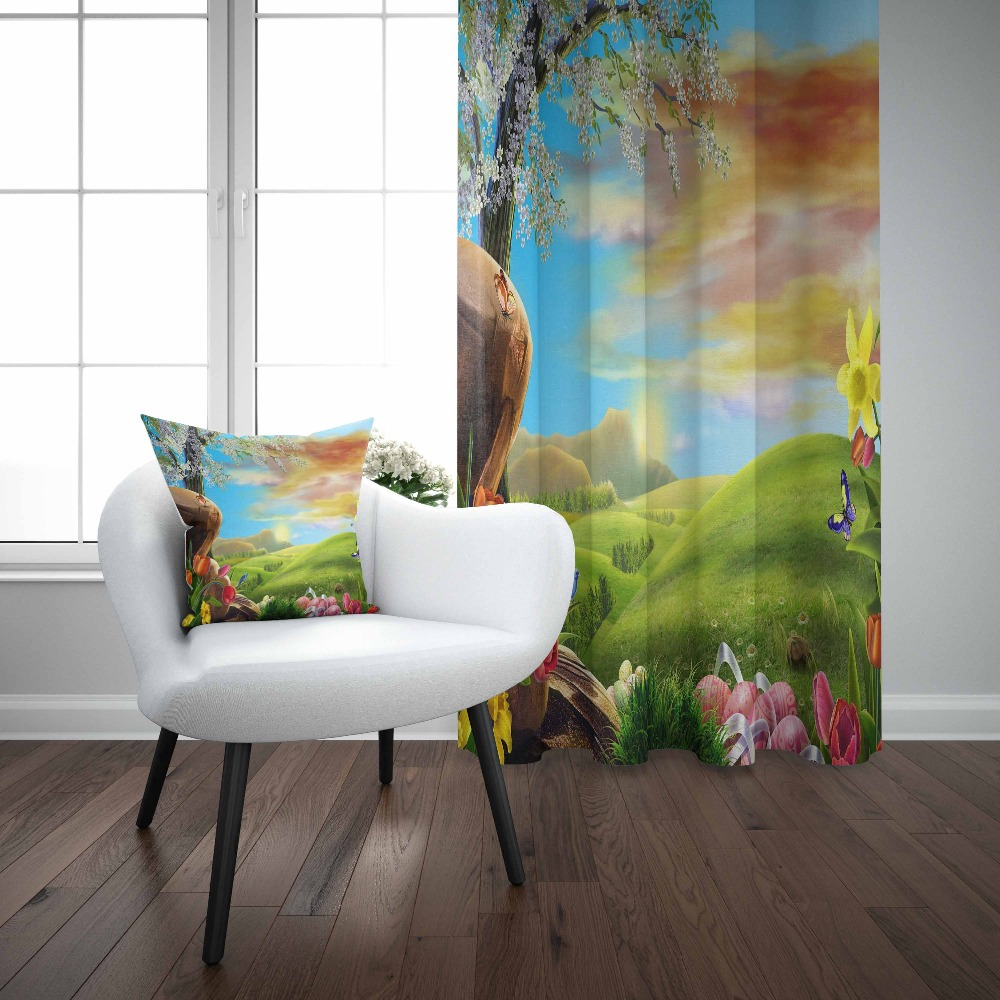 Else Green Grass Nature Trees Flowers Floral Brown Sky 3d Print Living Room Bedroom 1 Panel Set Curtain Combine Gift Pillow Case