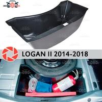 Organizador tronco para renault logan 2014 2018 na circunferência da roda de reposição plástico abs proteção estilo do carro acessórios|Estilo de cromo| |  -