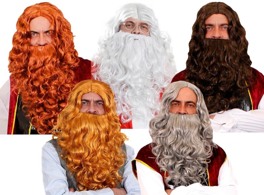 NEW 2018 FAST SHIPPING LONG WAVY WIG AND BEARD SET WIZARD VIKING MEDIEVAL FANCY DRESS COSTUME ACCESSORY