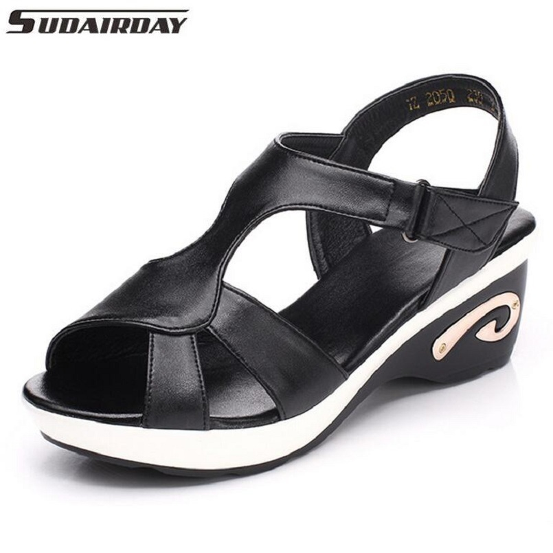 Women Sandals Genuine Leather Hollow Out Summer Shoes Open Toe Sandals T-strap Wedges Women's Shoes Plus Size 35-42 women in the summer of 2018 the new patent leather nude wedges pointed toe pump work shoes leisure women plus size 35 40 a23