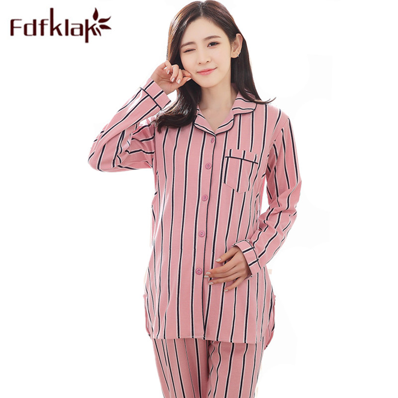 Fdfklak M-XXL Plus Size Spring Long Sleeve Maternity Clothes Pajamas For Pregnant Women  ...