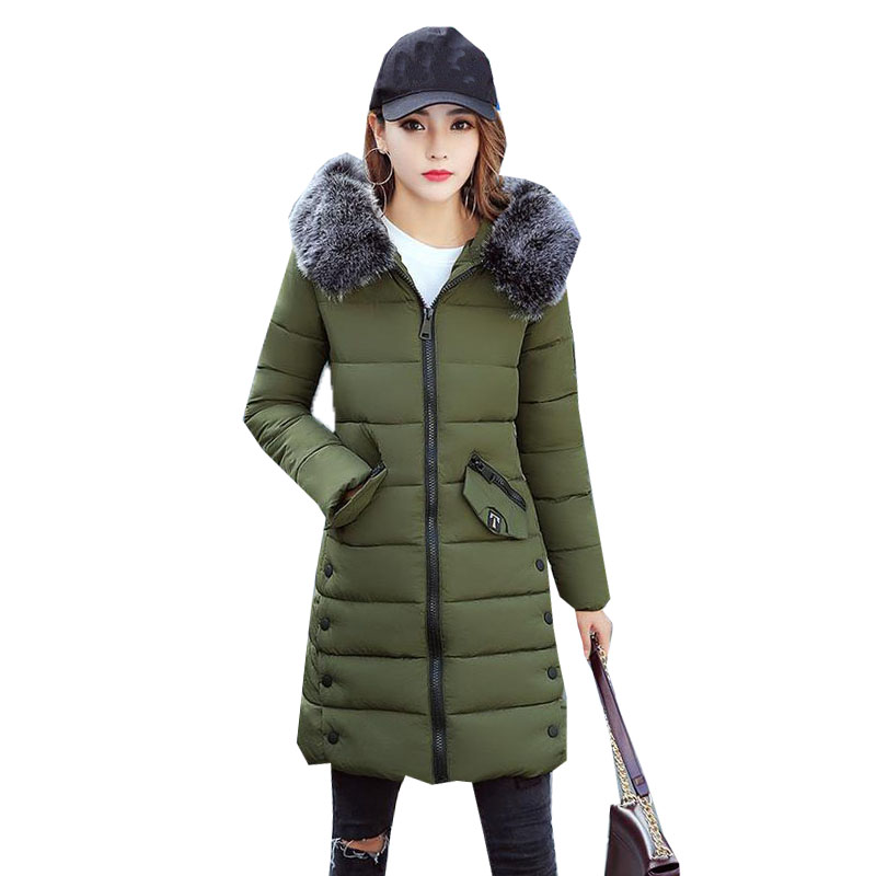 2017 Women Long Outwear Winter Hooded Faux Fur Collar Zipper Long Sleeve Cotton Warm Coat Padded Casual Jacket Parka Overcoat mcckle winter jacket with fur collar hooded cotton padded long puffer coat outwear women fashion thickening warm parka overcoat