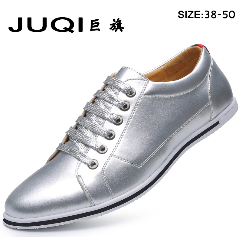 JUQI Brand New Style fashion men's gold and silver Men Shoes, High Quality Men Casual Shoes, Lace Up Casual Shoes Men 2017 spring brand new fashion pu stretch fabric men casual shoes high quality men casual shoes lace up casual shoes men 1709