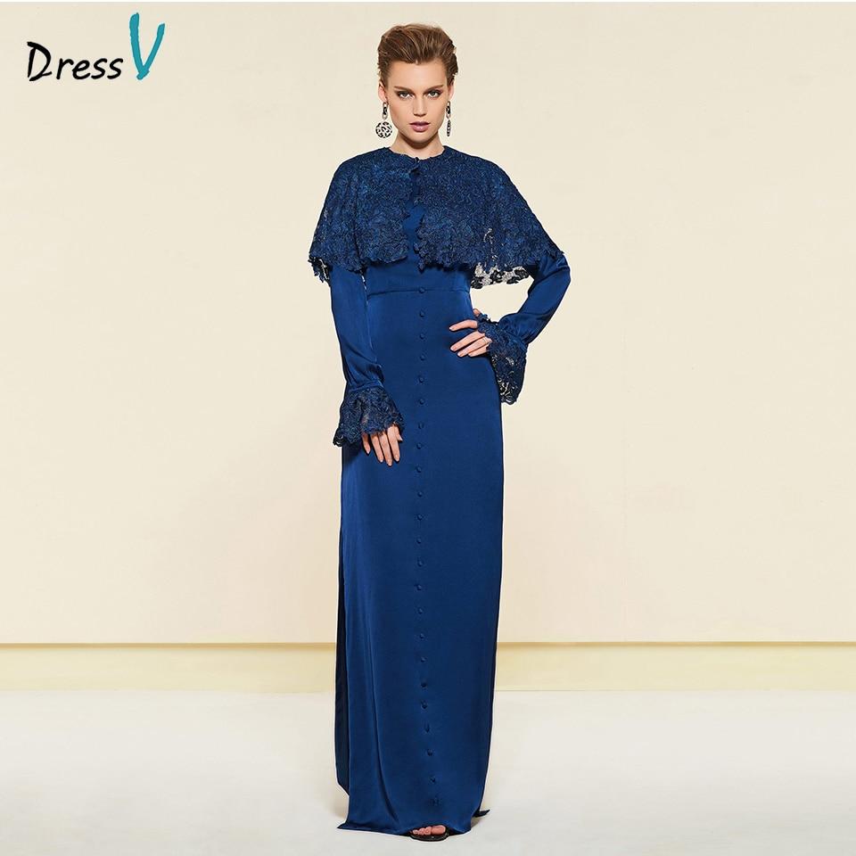 Dressv Elegant Dark Blue Long Sleeves Lace Mother Of Bride Dress Floor Length Zipper Up Long Mother Evening Gown Custom