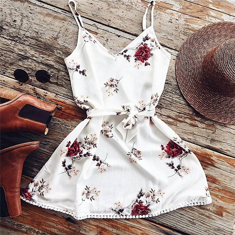 2018 de espagueti del verano Floral vestido mujeres Sexy Beach Tank Top Vestidos blanco Casual elegante Mini Vestidos de partido Vestidos