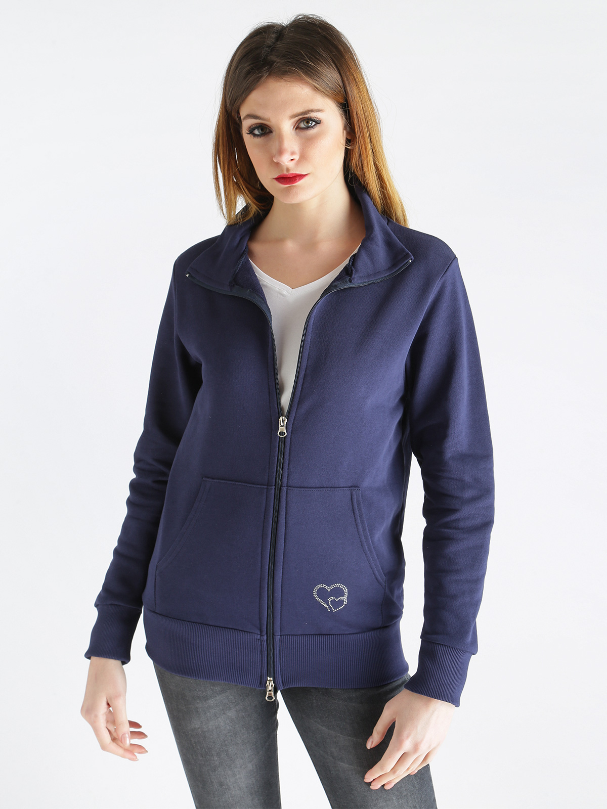Sweatshirt With Zipper And Pockets